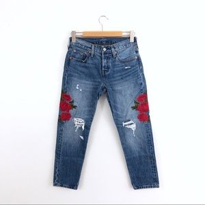 Levi's 501 Distressed Floral Embroidered Jeans